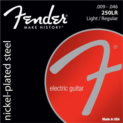 Fender (250LR) Nickel-Plated Steel Light/Regular Electric Guitar Strings for sale