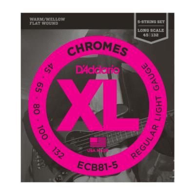 D'Addario ECB81-5 XL Chromes Flatwound 5-String Bass Guitar Strings, Light Gauge Long Scale