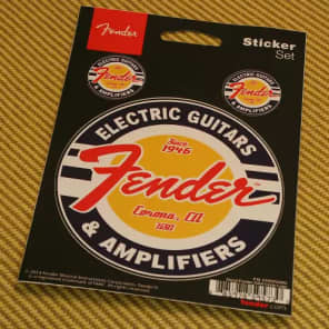 Fender G&A Circle Logo Window Decals/Stickers Guitar and Amp Logo PN 910-0252-000