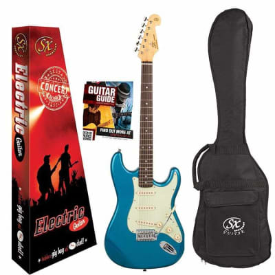 SX Vintage Style Electric Guitar Package - Lake Placid Blue for sale