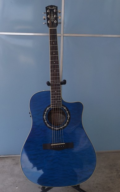 Fender T Bucket 300CE Hot Rod Series Quilt Maple Blue Top Acoustic Electric Guitar With GigBag