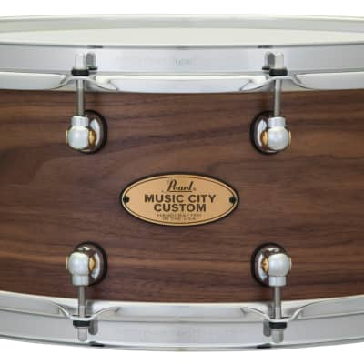 Pearl Music City Custom 14x6.5 Walnut Solid Shell Snare Drum Nashville Hand-Rubbed Natural Finish