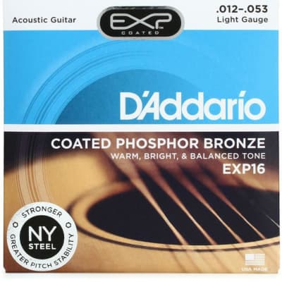 D'Addario EXP16 Coated Phosphor Bronze Acoustic Strings: (Light)