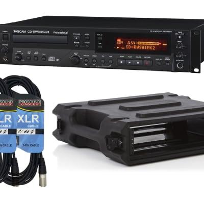 Tascam CD-RW900MKII Recorder - Gator G-PRO-2U-19 Rack Case - (2) XLR Cable
