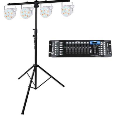 Rockville RVLS1 Tripod Lighting Stand +(4) Par Can Wash Lights+DMX Controller