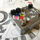 """the Evil Twin - crazy JFET boost and signal destroyer, hand painted """"bubble skull and ghost party"""" image"""