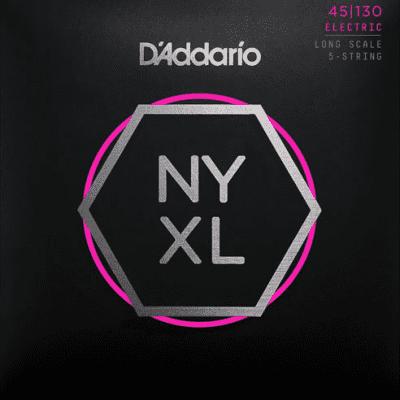 D'Addario NYXL45130 5-String Nickel Wound Regular Light Bass Strings 45-130