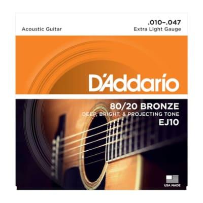 D'Addario EJ10 80/20 Bronze Extra Light String Set 10-47