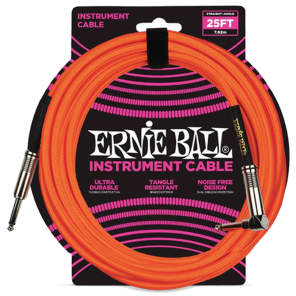 """Ernie Ball P06067 1/4"""" TS Straight to Right-Angle Braided Instrument Cable - 25'"""