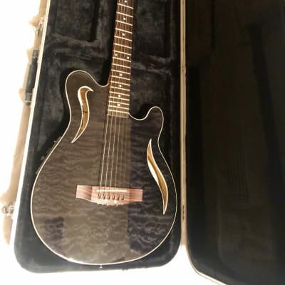 OLP Music Man EVH Style Thinline, Hollow Body Acoustic Electric Guitar & Case, Black Quilt, for sale