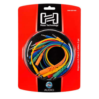 """Hosa CMM-500Y-Mix 5-Pack Various Length Hopscotch Patch Cables 1/8"""" TS & TSF"""