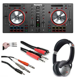 Numark Mixtrack 3 All-In-One Controller Solution With DJ Headphones + Hosa Stereo Cables