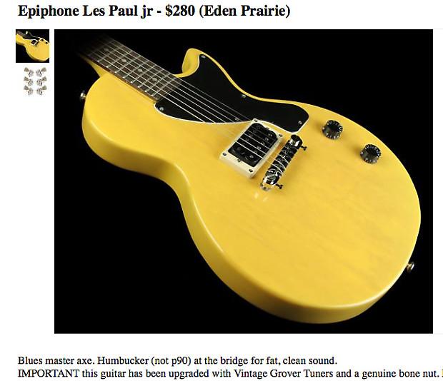 epiphone les paul jr tv yellow reverb. Black Bedroom Furniture Sets. Home Design Ideas
