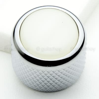 NEW (1) Q-Parts Guitar Knob CHROME with ACRYLIC WHITE PEARL on Dome KCD-0053 for sale