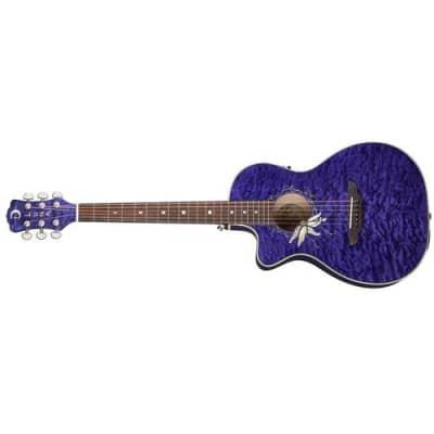 Luna Flora Passionflower Left Handed Acoustic Guitar, 21 Frets, C Shape Neck, Rosewood Fretboard, Trans Purple Quilted Maple for sale