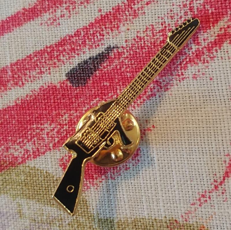 Hondo M-16 Rifle Machine Gun Guitar Pin 1980s Hat Shirt Strap lapel Pin  Enamel Cloisonne Vintage