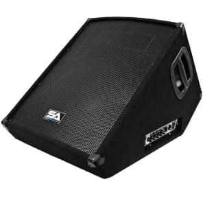 "Seismic Audio SA-15MT-PW Powered 1x15"" Titanium Horn 350w Floor Monitor Wedge Speaker"