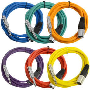 """Seismic Audio SATRXL-M10BGORYP XLR Male to 1/4"""" TRS Male Patch Cables - 10' (6-Pack)"""