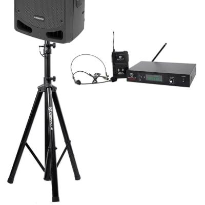 "Samson RL112A 12"" 800w Powered Active Bi-amped DJ PA Speaker+Stand+Headset Mic"