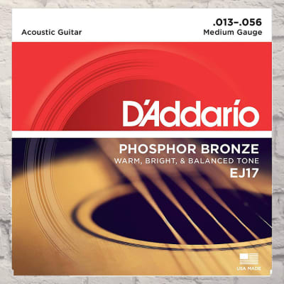 D'Addario EJ17 Medium Phosphor Bronze Acoustic Strings 13-56