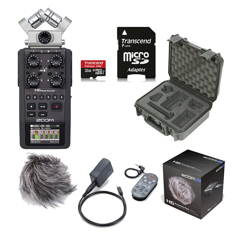 Zoom H6 Portable Handheld Recorder + SKB iSeries Protective Case +  Accessory Pck