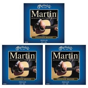 Martin M550 Medium Phosphor Bronze Acoustic Guitar Strings (3 Pack)