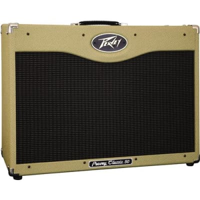 Peavey Classic 50 50W RMS 2x 12  Tube Combo Guitar Amplifier, 50Hz-15kHz Frequency Response, 3-Band Passive EQ, 120V AC Power