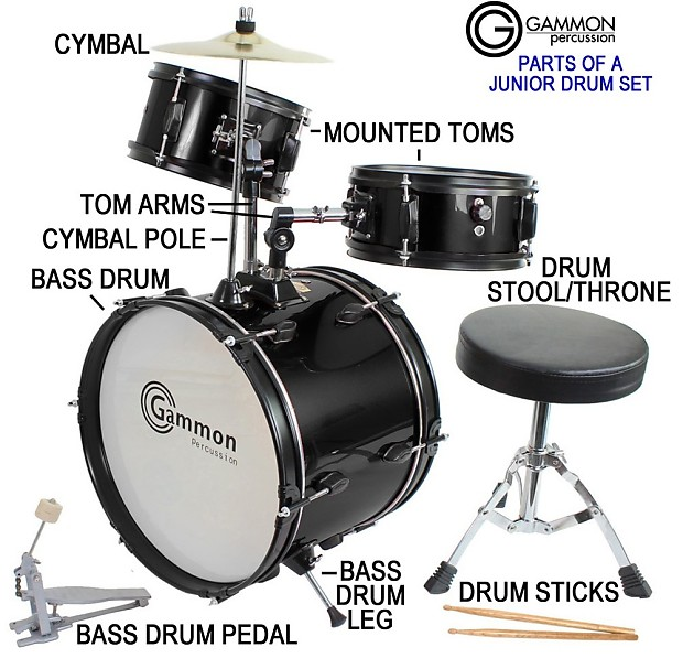 Gammon Drum Set Silver Complete Junior Kit With Cymbal Sticks Reverb