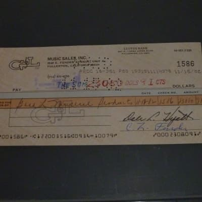 1982 Leo  Fender signed business check for $23,080  G&L for sale