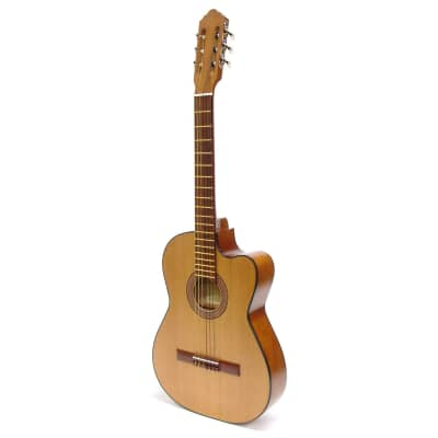 New Paracho Elite San Benito Solid Cedar Top Thin Body Classical Guitar, Natural + Free Shipping for sale