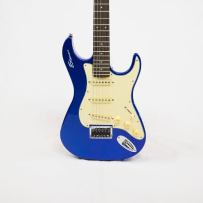 Stewart Stow-Away Travel Guitar - Electric Blue with Cream Pick Guard for sale