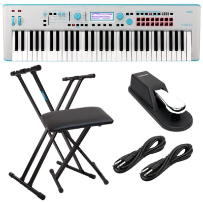 Korg KROSS 2 61-Key Synthesizer Workstation (Gray-Blue), Keyboard Stand, Bench, (2) 1/4 Cables, Sustain Pedal Bundle