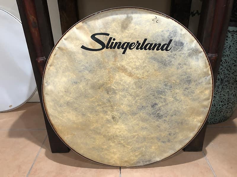 slingerland script logo bass drum head 26 faux calf reverb. Black Bedroom Furniture Sets. Home Design Ideas