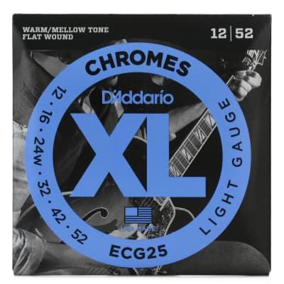 D'Addario ECG25 XL Chromes Flatwound Electric Guitar Strings, Jazz Light Gauge 12-52