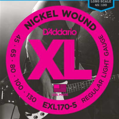 D'Addario EXL170-5 XL Nickel Wound 5 String Bass Guitar Strings 45-130