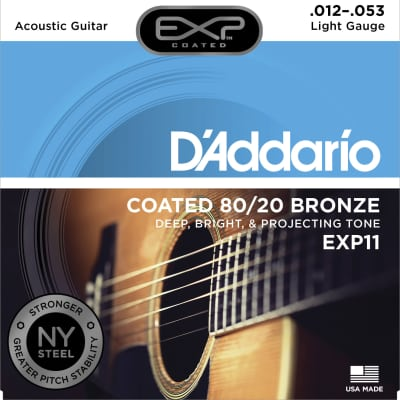 D'Addario EXP11 Coated Acoustic Strings, 80/20, Light, 12-53