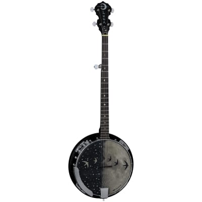 Luna Moonbird 5-String Acoustic/Electric Banjo, Satin Black, BGB MOON 5E