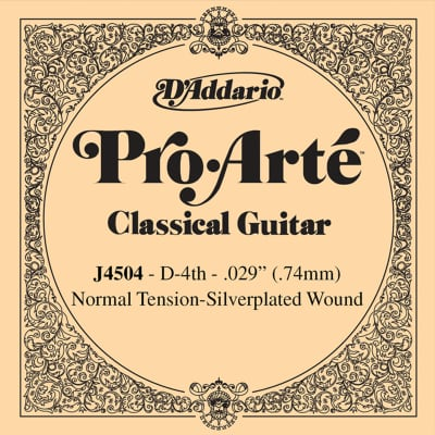 D'Addario J4504 Silver Wound Classical Guitar Single String - Normal Tension