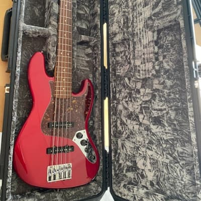 Fender Jazz Bass Deluxe V PAO FERRO 2004 CANDY APPLE RED for sale