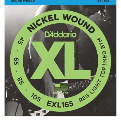 D'Addario EXL165 Nickel Wound Regular Light Top/Medium Bottom Bass Strings 45-105
