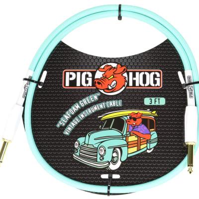 "2-Pack Pig Hog 1/4"" Seafoam Green Guitar 3ft Patch Cables"
