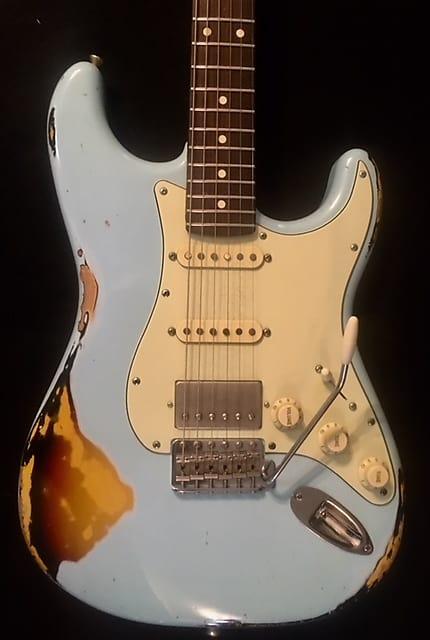 Xotic 2017 XSC-2 Heavy Aged California Classic Sonic Blue Over 3 Tone Sunburst Guitar & Case image