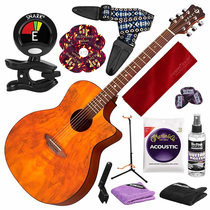 luna gypsy spalt acoustic guitar with guitar stand and deluxe reverb. Black Bedroom Furniture Sets. Home Design Ideas