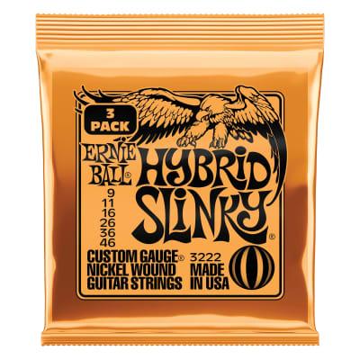 Ernie Ball Hybrid Slinky Nickel Wound Electric Guitar Strings 3 Pack - 9-46 Gauge