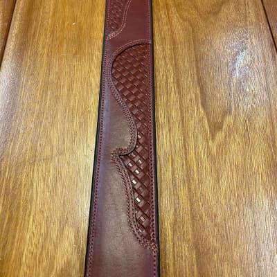 "Levy 2 1/2"" Basket Weave Leather Strap Burgundy"