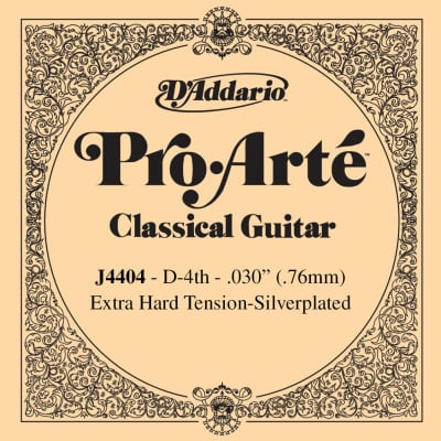 D'Addario J4404 Silver Wound Classical Guitar Single String - Extra-Hard Tension