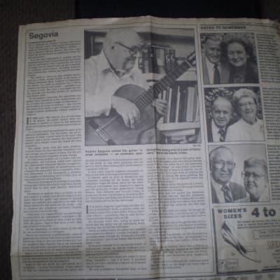 Andres Segovia  Death Newspaper Article June 4 , 1987
