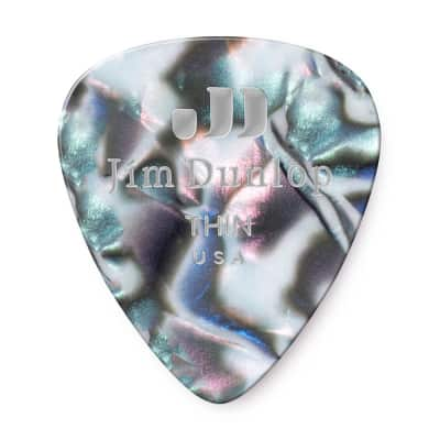 Dunlop 483P12TH Classic Celluloid Abalone Thin Guitar Picks (12-Pack)