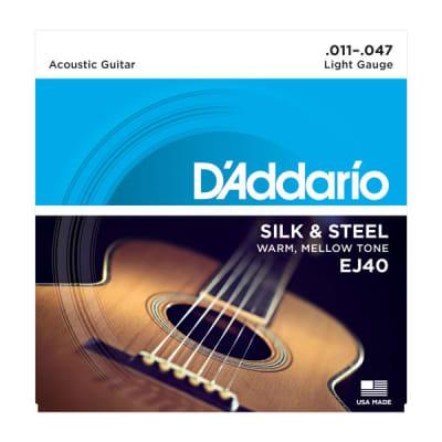 D'Addario EJ40 Silk & Steel Folk Acoustic Guitar Strings, Full Set 11-47