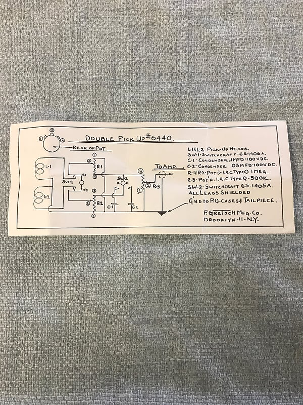 1960 s gretsch double pickup 6440 wiring diagram case reverb